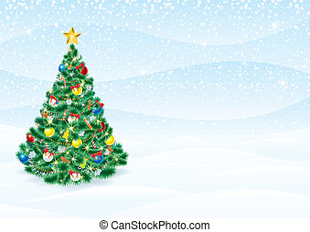 Christmas Background with detailed Christmas Tree - editable vector greeting card template
