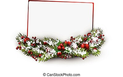 Christmas card. - Christmas card with fir branch....
