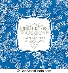 Christmas card. - Christmas card with fir-tree branches over...