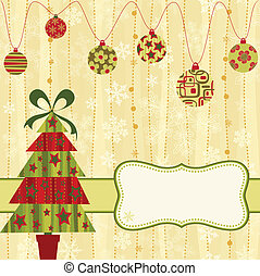 Christmas retro card with tree and baubles.
