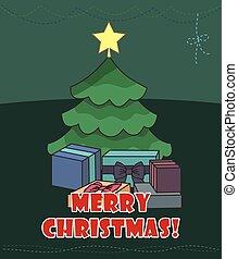 Christmas card. Christmas tree and presents