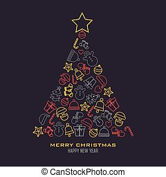 Christmas tree with icons