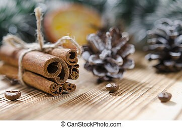 Christmas card: Cinnamon and slices of orange for Christmas