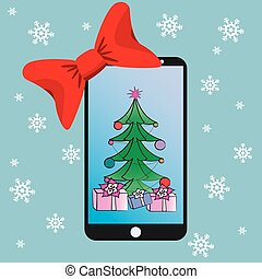 Christmas card concept design with smartphone