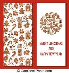 Christmas card. Cozy Xmas gingerbred greetings