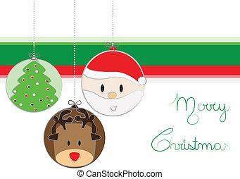 Cute christmas card cartoon style