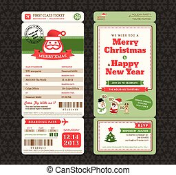 Christmas Card Design Boarding Pass Ticket Template