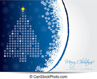 Christmas card design in blue color - Christmas greeting...
