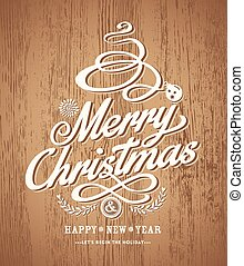 christmas card design on wood texture background