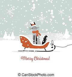 Christmas card design, sledge with santa cat