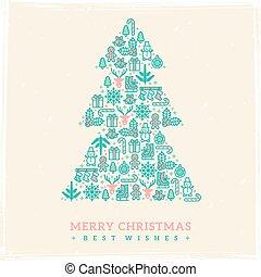 Christmas card design. Vector illustration. New year greetings.