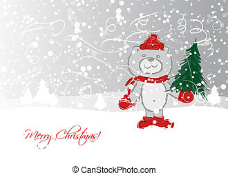 Christmas card design with funny bear