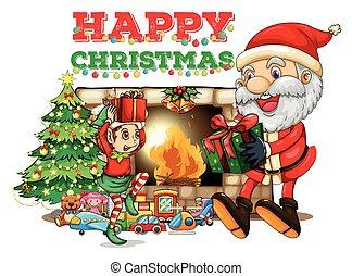 Christmas card with the fireplace  Christmas fireplace room