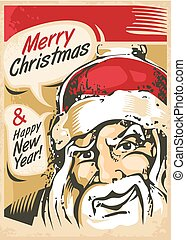 Christmas card design with Santa Claus