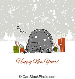 Christmas card design with sleeping cat