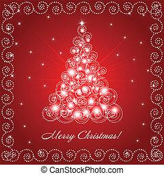 Christmas card with ornate decorative christmas tree