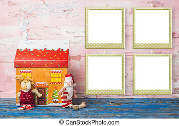 Christmas card, four empty photo frames.
