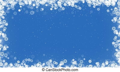 Christmas Card Frame with Snowflakes on Blue Background.