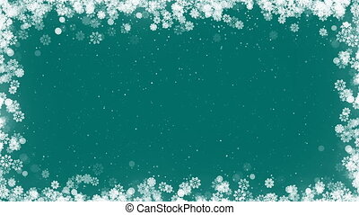 Christmas Card Frame with Snowflakes on Green Background.