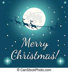 Christmas card full moon night passing santa claus in his sleigh