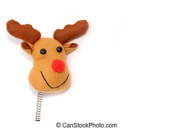 funny stuffed reindeer isolated on white background