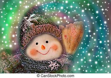 christmas card, funny snowman
