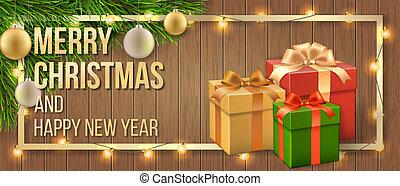 Christmas card gift box and christmas tree branch