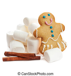 Christmas Card  - gingerbread man cookie with marshmallows isolated over white  background.