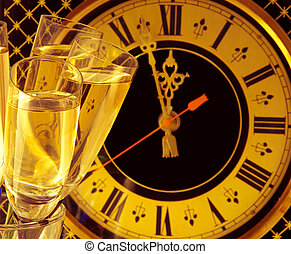 Christmas card. Glasses of champagne on New Year's Eve against an ancient wall clock