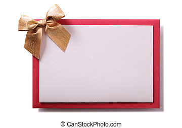 Christmas card gold bow red envelope