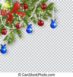 Christmas card. Green branches of a Christmas tree with blue, red balls and ribbon on a checker background. Corner with shadow and snowflakes. Christmas decorations. illustration