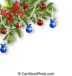 Christmas card. Green branches of a Christmas tree with blue, red balls and ribbon on a white background. Corner with shadow and snowflakes. Christmas decorations. illustration
