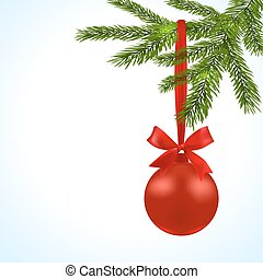 Christmas card. Green branches of a Christmas tree with red balls and ribbon on a white background. Christmas decorations. illustration