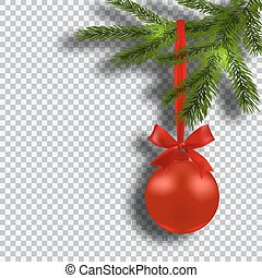 Christmas card. Green branches of a Christmas tree with red balls and ribbon on background checker. Christmas decorations. illustration