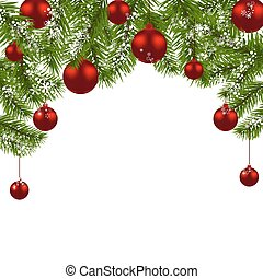 Christmas card. Green branches of a Christmas tree with red balls and snowflakes on a white background. New Year decoration. illustration