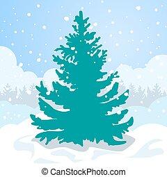 Green fir tree in the white snow drift. - Christmas card. ...