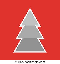 christmas card, grey christmas tree on red background