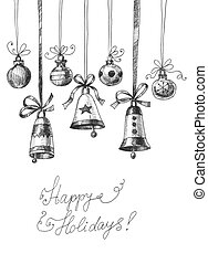 Christmas card - Hand drawn with ink Christmas ornaments - ...