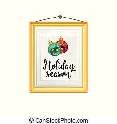 Christmas card hanging on wall vector