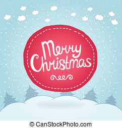 Christmas card. Holiday background with badge.