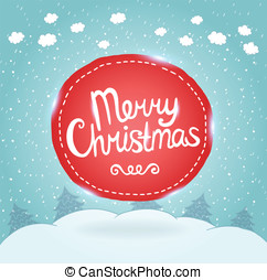 Christmas card. Holiday background with badge. - Merry...
