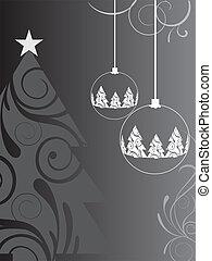 christmas card - vector illustration of a christmas tree and...