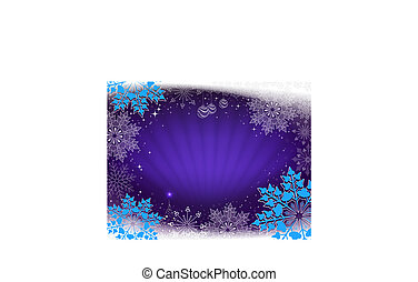 Christmas card in blue with rays of light, a small Christmas tree and beautiful snowflakes.