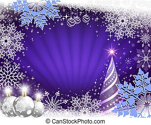 Christmas card in blue with rays of light, a striped Christmas tree, white balls and beautiful snowflakes.