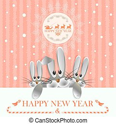 Christmas card in pink with three hares