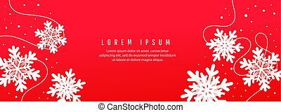 Christmas card invitation card with paper cut snowflakes on red background vector illustration