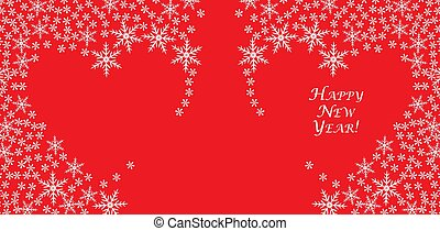 Christmas card, invitation, congratulation. Loving Heart of snowflakes on a red background
