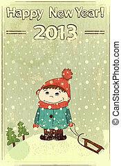 Christmas card -  little boy and sled