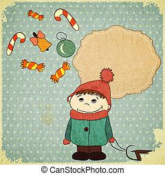 Christmas card -  little boy and vintage Christmas toys