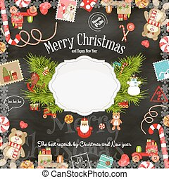 Christmas card - Merry Christmas and New Year Card - Holiday...